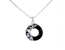 俐落優雅幾何蔓延水鑽項鍊#030020B070004
