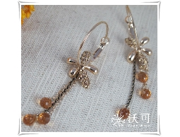 華麗金鑽橙水晶耳環#008002A020001
