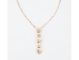 典藏玫瑰金圓型水鑽串連項鍊#030020B080001