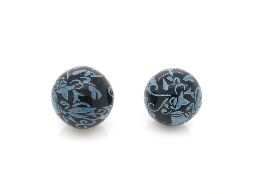 古典花藤彩繪藍色耳環#012016A050003