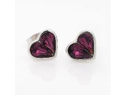 紫色糖心愛心水鑽耳環#014008A060001