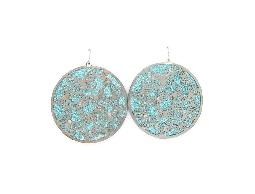 蝴蝶波光水鑽雅緻藍色大耳環#012016A050002