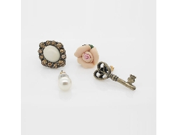 趣味個性女孩橙色水鑽花朵鑰匙珠珠耳環#023015A020003
