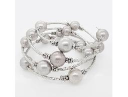 歐風基本款銀色多圈珠珠手環#023015D080001