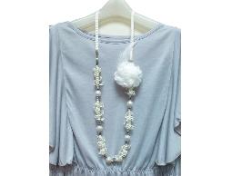 浪漫少女情懷黃色蕾絲毛線花朵水晶珠珠毛衣鍊#022007B030002