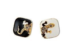 黑白壁虎時尚潮流金色耳環#024010A070014