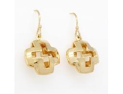 精緻時尚基本款金色立體十字耳環#014008A080020