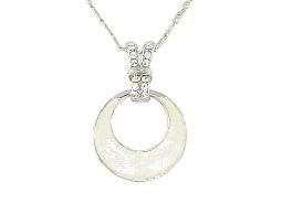 時尚簡約仿月牙彩石水鑽銀質項鍊#025010B080006
