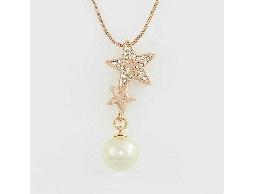 玩心童漾星星水鑽珠珠玫瑰金項鍊#025010B080002