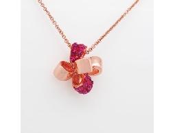 甜蜜花語桃紅色水鑽項鍊#016009B010001