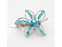 別緻透亮藍色水鑽花朵磁扣式髮夾#023000C050001