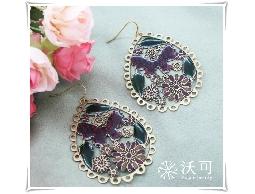 自然復古蝴蝶花朵鏤空古銅金耳環#028015A060001