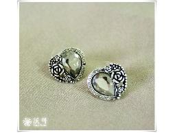 復古浪漫銀質玫瑰愛心水鑽耳環#024010A070002
