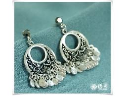 異國情調銀色鏤空水鑽耳環#024010A080003
