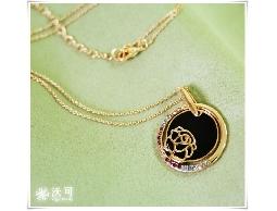 浪漫氣質玫瑰花圓框鑲水鑽玫瑰金項鍊#025010B080007