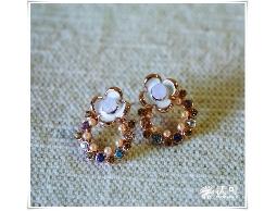 甜蜜童心花朵水鑽珠珠耳環#024010A070007