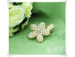 迷人姿態金色花朵水鑽珠珠髮夾#021009C080002