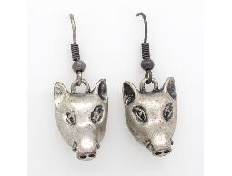 懷舊系列率性狂野銀色小山豬耳環#012015A080004