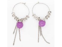 甜美氛圍紫色彩石水晶耳環#008002A060002