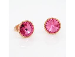 淘氣精靈粉色水鑽耳環#014008A010004