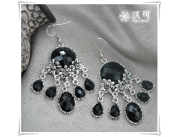 宮廷巴洛克風黑水鑽耳環#008002A070009