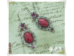 絕色美姬桃紅花朵水鑽復古耳環#008002A010005