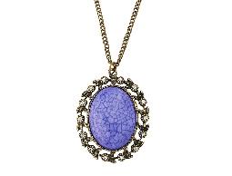 精典歐式浪漫紫花邊水鑽項鍊#031021B060001