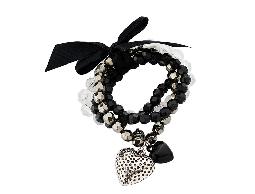 搖滾甜心黑色緞帶愛心珠珠手環#031021D070001