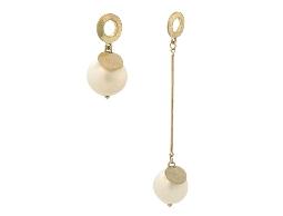 仿舊不對稱前衛時尚白色珠珠耳環#017009A070018