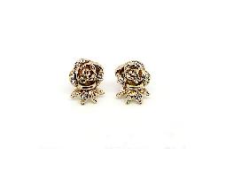 柔美優雅薔薇水鑽耳環#030020A080014