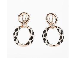 經典玫瑰金黑白拼色水鑽耳環#030020A070001