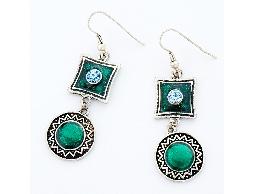浪漫風情水鑽綠色方圓組合耳環#028015A040002