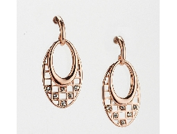 柔美名媛雙橢圓水鑽耳環#030020A080007