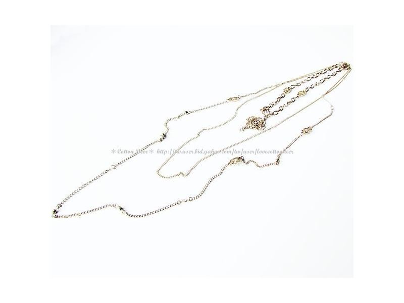 復古典雅‧超美巴洛克做舊感金色鑲水鑽三層項鍊‧現+預