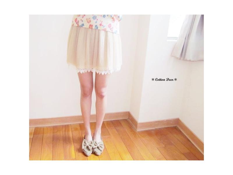 pure‧日本緹花蕾絲下擺雪紡紗雙層百摺裙‧現+預
