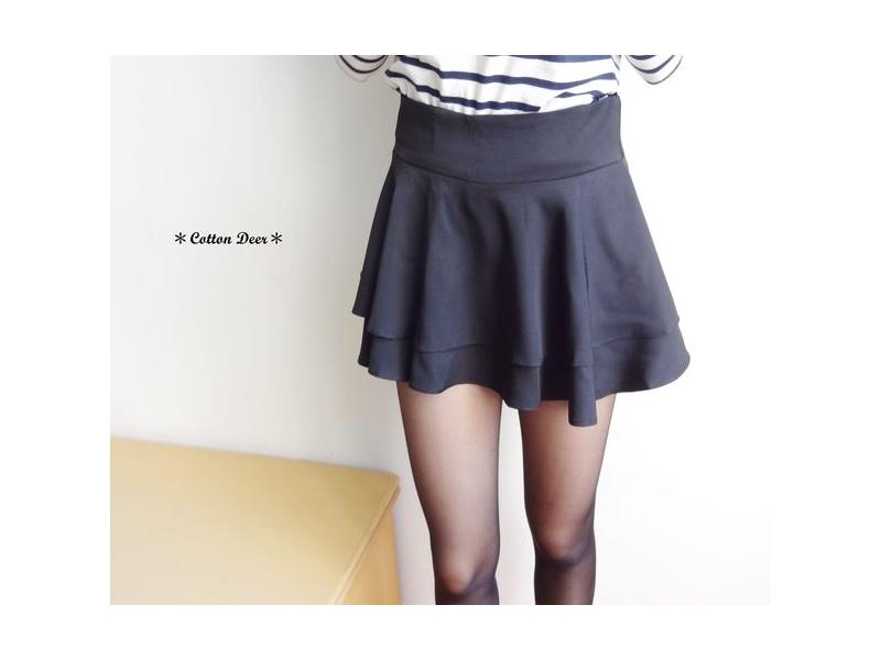 法式gir‧韓版復古高腰波浪荷葉雙層褲裙‧S/M‧現+預