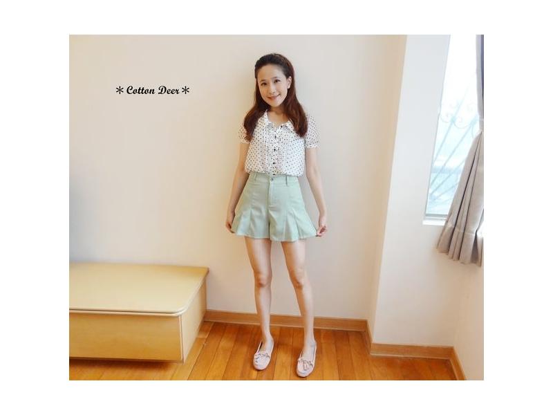 elegant‧日本超美高腰立體剪裁荷葉褲管西裝短褲裙‧深藍‧現+預