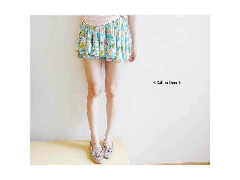 floral‧日本超美斑斕花朵柔綿雙層荷葉裙擺褲裙‧藍綠/橘/紅‧現+預