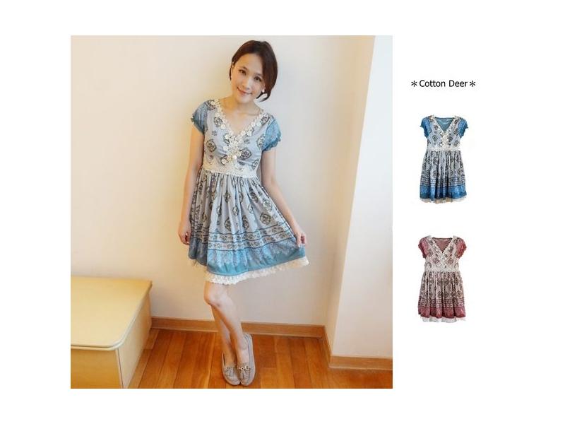 elegant‧日本超美緹花蕾絲復古條紋宮廷印花小公主袖洋裝‧藍/粉‧現+預