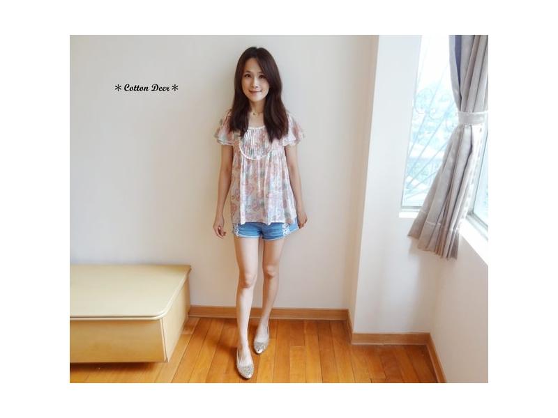 floral‧日本清新暈染花朵雙層荷葉袖小花邊棉麻衫