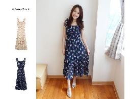 floral‧日本超美花朵蝴蝶結肩帶荷葉領收腰雪紡紗長洋裝‧米/藍‧現+預 分享 分享到F
