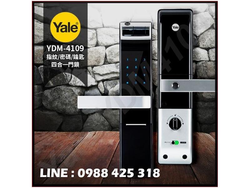 耶魯YALE-ydm4109 指紋三合一電子鎖 /安全鈕設計防盜與熱感觸控密碼電子鎖