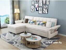 預購 -魔術多功能布面乳膠L型沙發床
