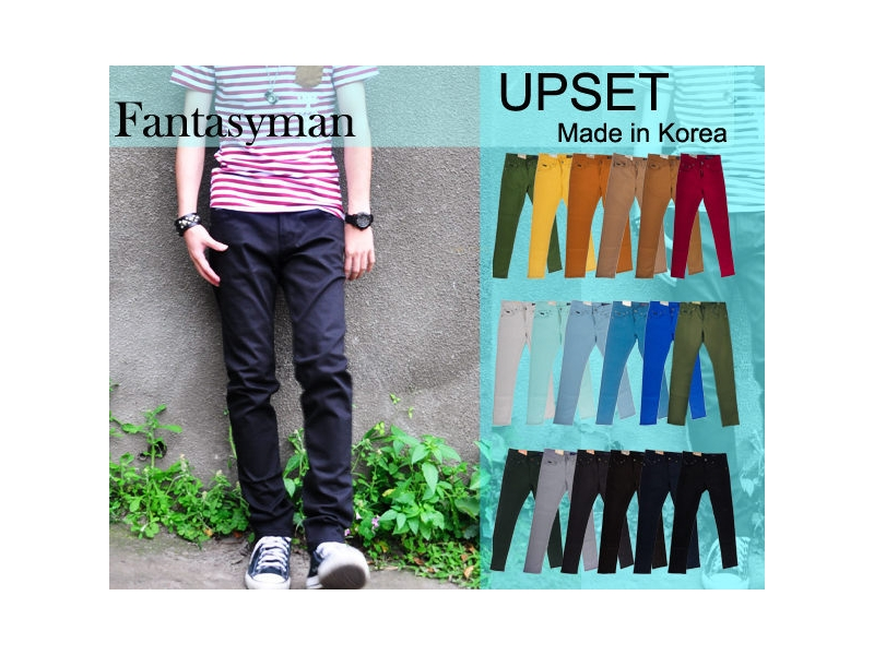FANTASY MAN 正韓 Upset 韓國馬卡龍色系 高質感 窄版休閒長褲 十八色