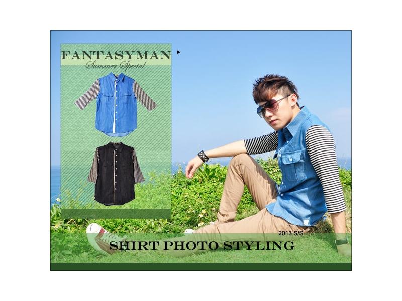 FANTASY MAN 春夏特輯 牛仔質感拼接 條紋接袖七分襯衫