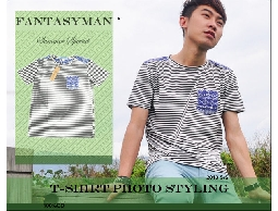 FANTASY MAN 春夏特輯 韓版變形蟲口袋造型 簡約條紋圓領短袖棉T