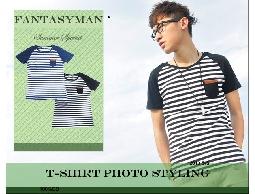 FANTASY MAN 春夏特輯 口袋皮標造型 雅痞風條紋 圓領短袖棉T