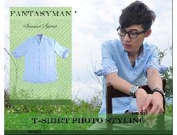 FANTASY MAN 春夏特輯 變形蟲反折袖口造型 素面七分袖襯衫
