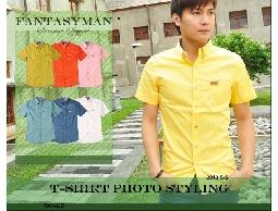 FANTASY MAN 春夏四月份新款 口袋皮標鈕釦造型 內裡條紋素色短袖襯衫