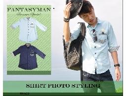 FANTASY MAN 春夏特輯 海軍徽章內裡反折條紋 造型七分袖襯衫